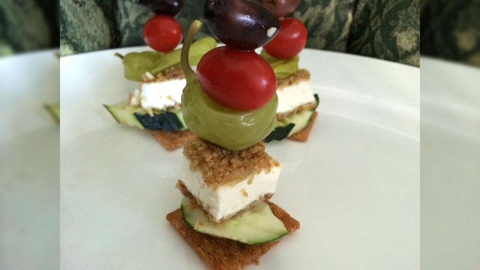 Greek Salad Stack with Fried Feta & Lemon Mint Vinaigrette