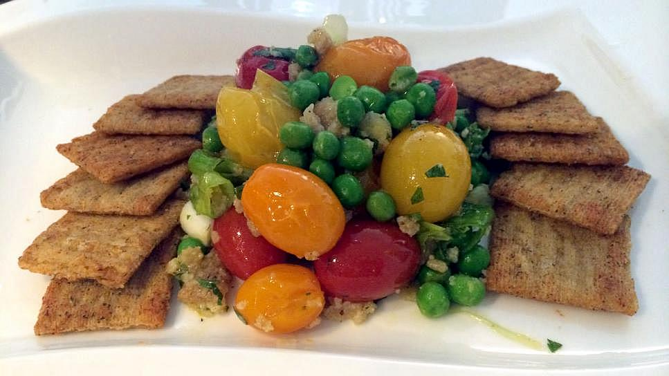 Tri-Color Cherry Tomatoes with Sweet Peas, Mint and Lemon