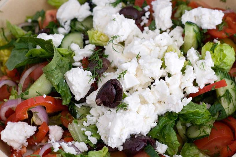 Greek Flags, Feta Cheese, and Olives