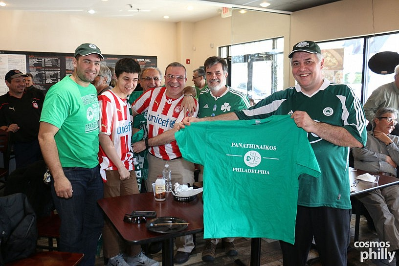 Philadelphia Soccer Fans Panathinaikos and Olympiakos Cheer on Teams