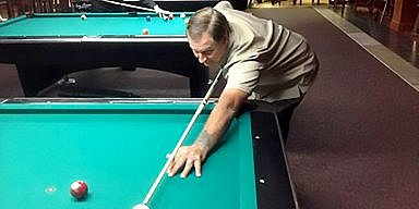 Jimmy Caras playing pool at Drexeline Billiards