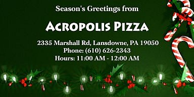 Season's Greetings from Acropolis Pizza