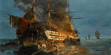 The attack on the Turkish flagship in the Gulf of Eressos at the Greek island of Lesvos by a fire ship commanded by Dimitrios Papanikolis - Konstantinos Volanakis (1837-1907)