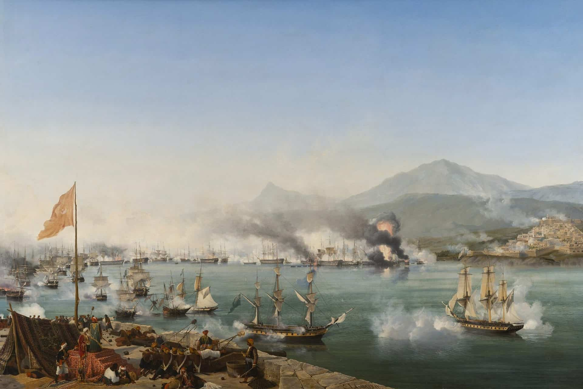The Naval Battle of Navarino - Painting by Ambroise Louis Garneray