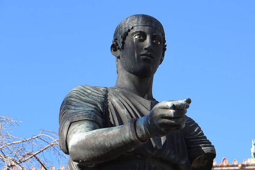 As it happens: Wreath-laying at the Charioteer of Delphi statue in Philadelphia