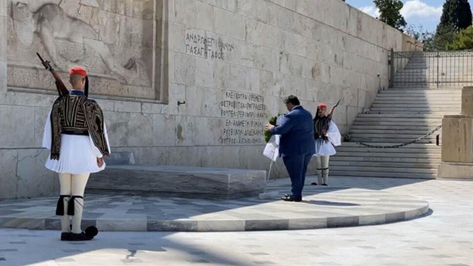 AHEPA dignitaries at the Tomb of the Unknown Soldier in Athens